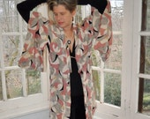 HOLDFORNOELLE Dusty Rose and Gray Silk Kimono/Vintage 1950s/Boomerang Abstract Graphics/Marbleized Colors