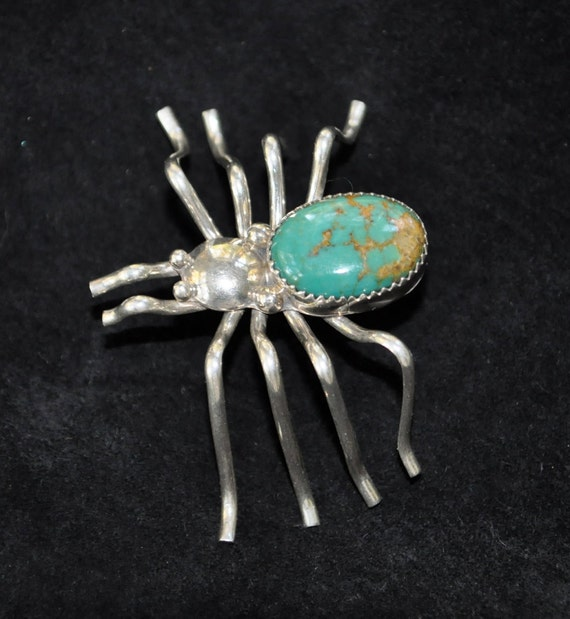 Black Widow Spider Vintage1960s Large Sterling Silver Turquoise Spider Brooch
