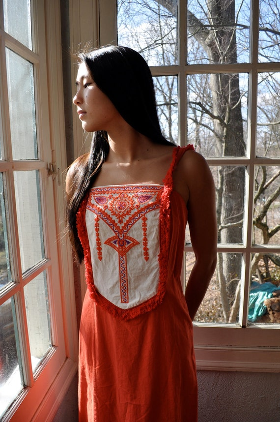 RESERVED for Brittany Fringed Tribal Princess 1960s Embroidered Maxi Dress Size Extra Small