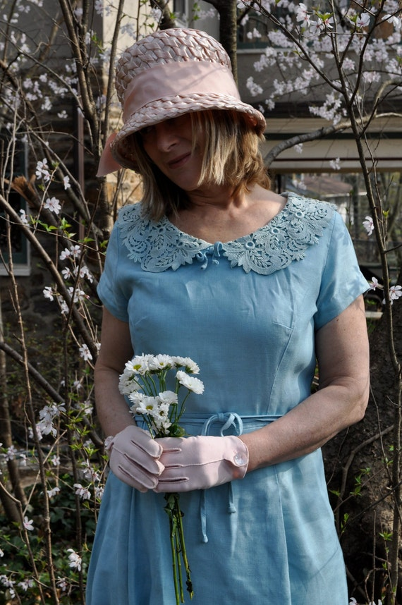 Blue Sky 1950s Vintage Linen Tailored Tea Party Dress Size Medium FREE SHIPPING