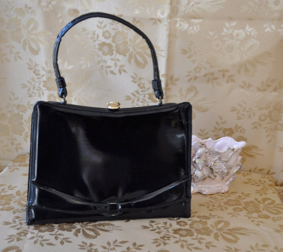 Perfect Patent Leather Vintage 1960s Shiny Black Handbag