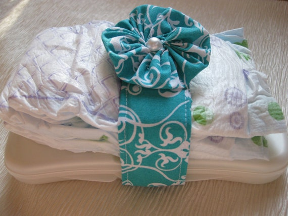 Diaper Wrap - Teal and White