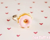 Kawaii Ring - Yummy Donut Sprinkle Adjustable Ring With Whip Cream