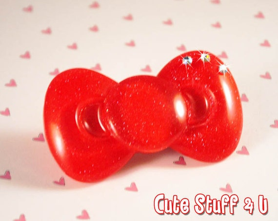 Bow Hair Clip - Hello Kitty type red sparkly cute bow with gemstones