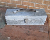 Vintage Galvanized Tool Box Caddy Old Farm Toolbox Riveted Industrial Metal Box