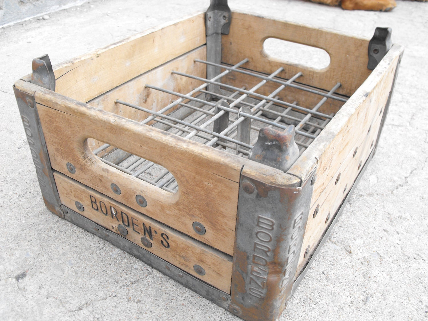 Antique borden 39 s milk crate industrial crate wood and for Old wooden crates
