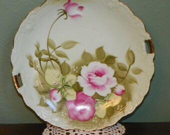Lefton Green Heritage Floral Serving Tray desert platter Cake Plate George