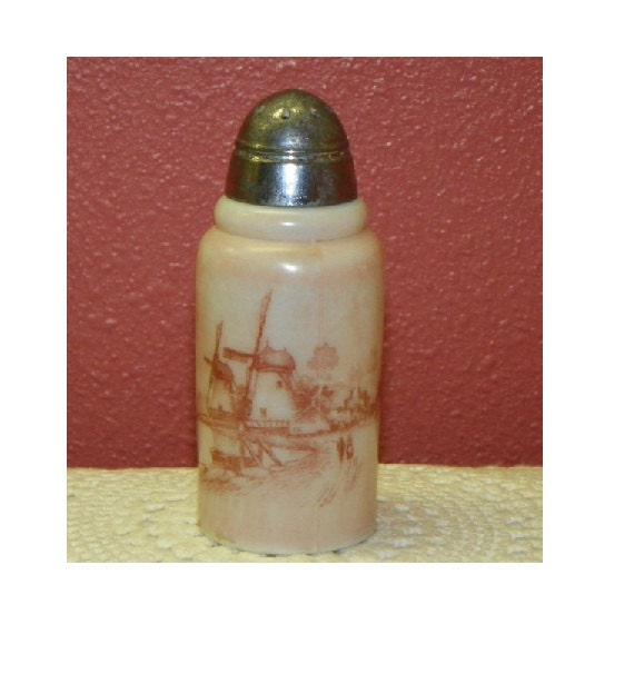 Antique Mt Washington Shaker Dutch Windmill Opalware Creased neck Hand Painted Opal Glass