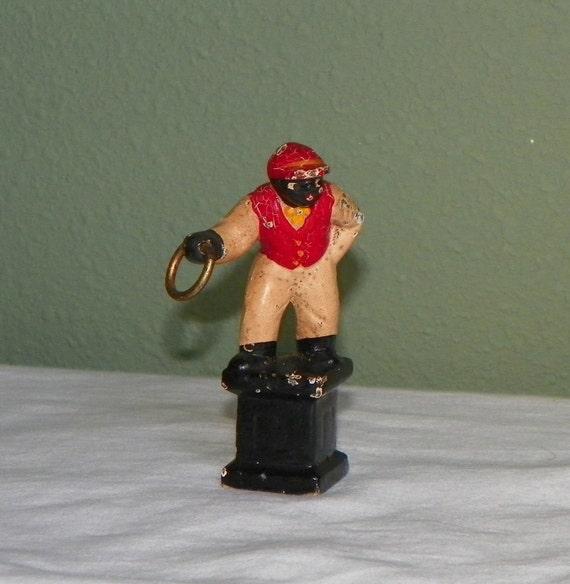Vintage Cast Iron Yard Lawn Jockey Miniature Enameled Statue