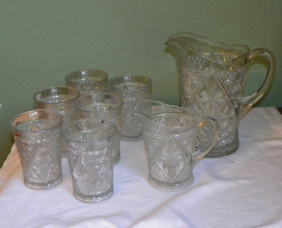 Victorian Eapg Glass Tumblers Pitcher Beverage Set Juice Water