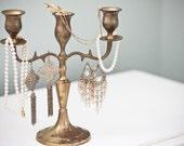 Vintage tarnished solid brass candelabra
