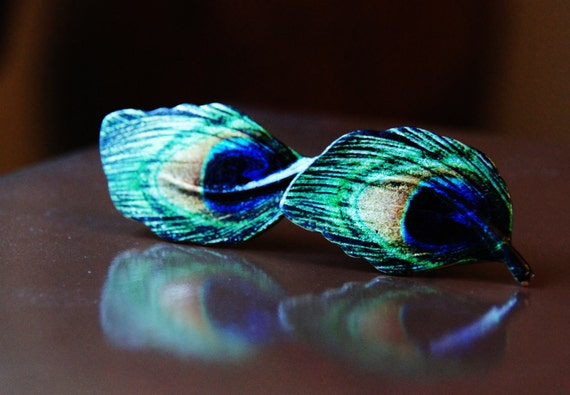 Peacock Cuff Links - Green Blue Gold Feather Cufflink - Long Bird Wing Feathers - Blue Green EYE Gift for Man - Men's WEDDING Birthday