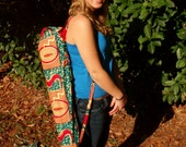 Beautiful Handmade Floral Pink and Teal African Print Yoga Bag. Made by Women of Uganda. DONATION