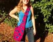 African Print Handmade Sling Bag. Pink and Blue Butterfly Pattern Purse Made by Ugandan Women. DONATION