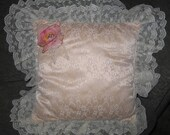 Gorgeous Vintage Victorian Satin Lace Square Pillow Shabby Chic