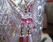 Breast Cancer Awareness  Silver Plated Dangle Earrings with Swarovski Crystals and Glass Beads