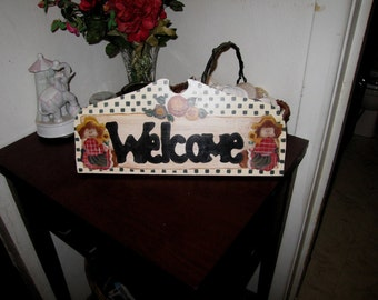 Country Home Decor - Welcome Sign -  Hand Painted Wood sign