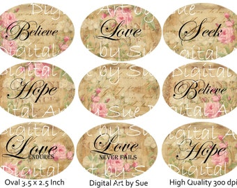 Instant Download -Shabby Oval Words - 3.5 x 2.5 inches -  Digital Printable Collage Sheet - Gift Tag - Hang Tag and More
