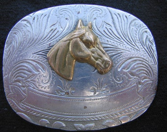 Vintage Rockmount Nickel Silver Belt Buckle - Vintage accessories - Horse belt buckle