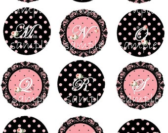 Instant Download -1 Inch Circles -  Pretty Pink and Black  Letters - Monogram - Digital Printable Collage Sheet -Bottle Cap Pendants Jewelry