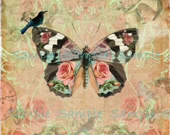 INSTANT DOWNLOAD Butterfly Art No. 1 - Altered  Digital Printable Collage Sheet - Wall Art - Frame and Hang - Transfer Image - Hang Tags