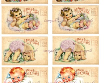 INSTANT DOWNLOAD - Baby Postcards -  Digital Printable Collage Sheet - Journaling Spot - Gift Tag - Hang Tag and More