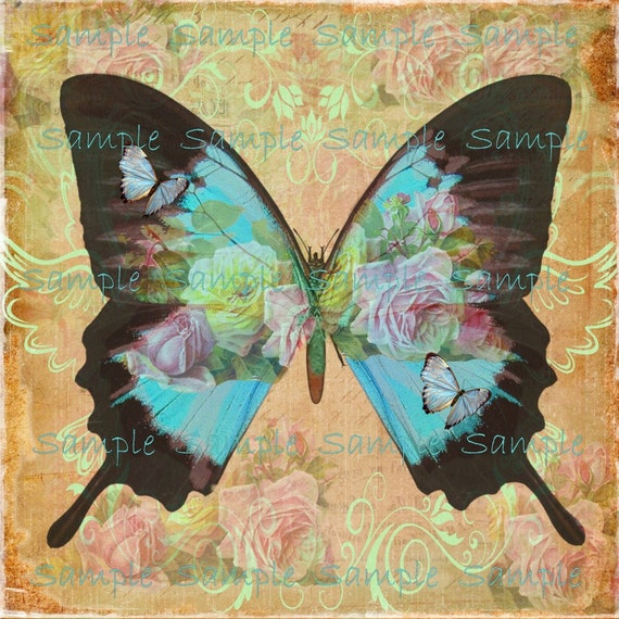INSTANT DOWNLOAD - Butterfly Art No. 2 - Altered  Digital Printable Collage Sheet - Wall Art - Frame and Hang - Transfer Image - Hang Tags