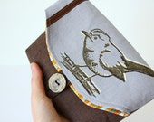 Foldover makeup pouch/ clutch- original bird in brown cream on grey linen, brown linen and vintage button,Wedding party gifts-Ready to ship