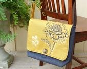 Liberty Satchel/Messenger/Diaper Bag- Flower and butterfly print, harvest gold canvas, indigo denim,adjustable strap,padded-Made to order