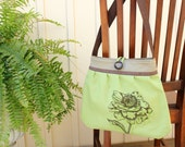 KensingtonTote/Purse-Original- Flower print, organic green canvas, brown linen,canvas interior, faux leather strap, 4 pockets-Ready to ship