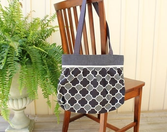 Purse/Tote- denim, canvas and black and grey tile print canvas ~Ready to Ship
