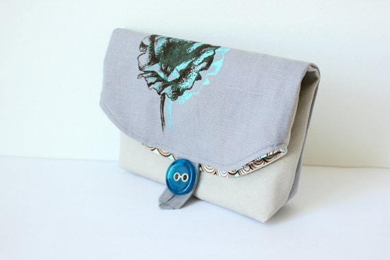 Foldover makeup pouch/ clutch- original poppy image in turquoise and brown on grey linen with stone canvas,Wedding party gifts-Ready to ship