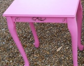 Shabby Chic Hot Pink Wood Side table