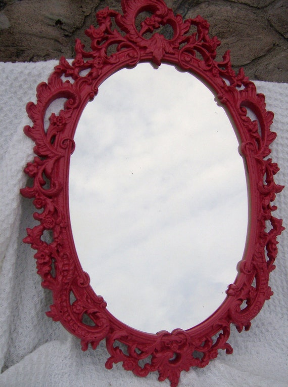 Syroco Plastic 1960s Pink Ornate Oval Mirror