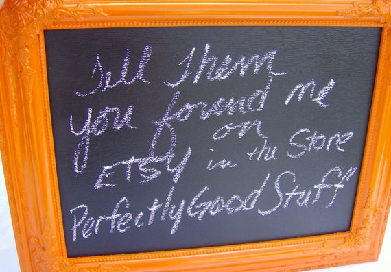 Chalk Board Orange Ornate Wood frame Message Board Home Decor