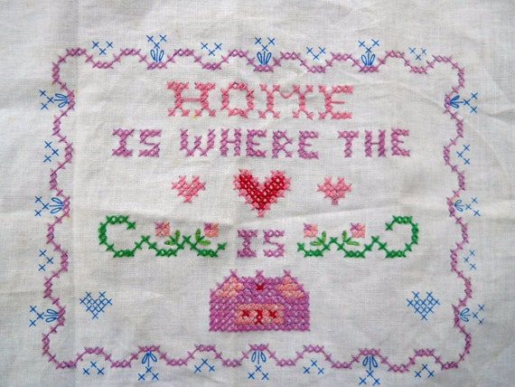 vintage crossstitch Home is where the heart is unframed