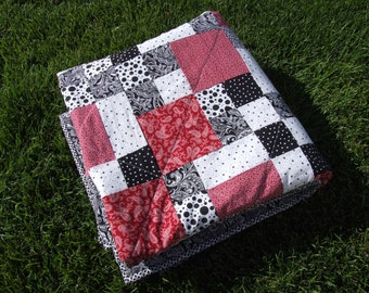 "Black, white, and red baby/lap quilt 62"" x 62"""