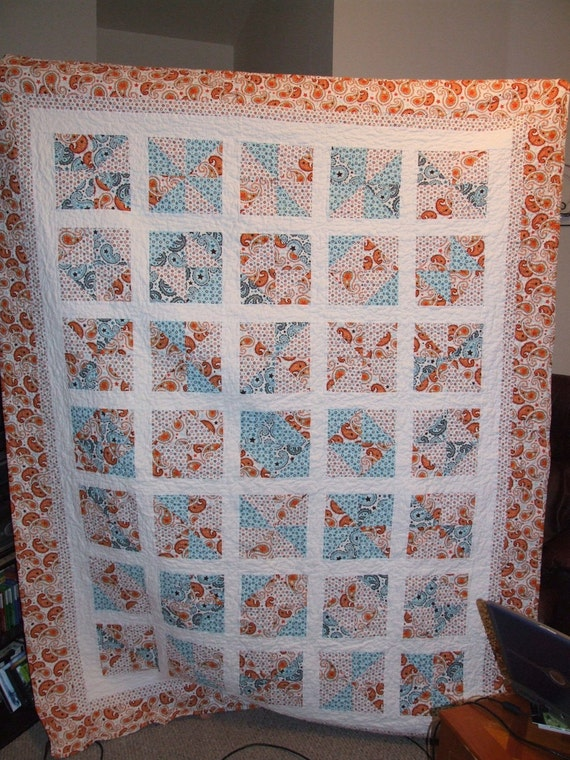 Twin size blue/orange quilt