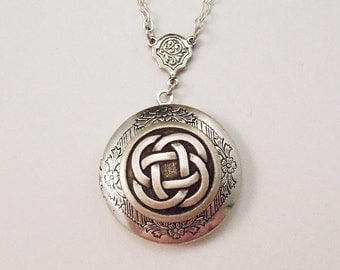 The Infinite-- Celtic Knot Silver Locket--christmas gifts.photo locket.Antique Locket.Graduation Gift.bridesmaid gift