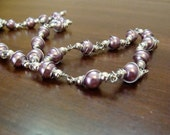 Purple Pearl wire wrapped necklace and earrings