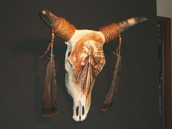 COW SKULL with Native American inspired painting