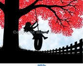 Tire Swing Girl silhouette  red tree - nursery or child room wall art print