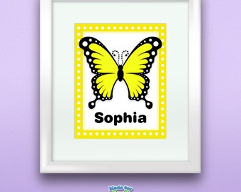 Personalized Yellow Swallowtail Butterfly Print, Customize with Name, Wall Art Decor for Nursery or Kids Room