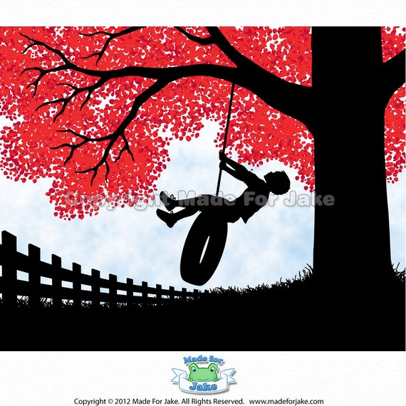 Boy Silhouette on Tire Swing with Red Tree Nursery Childs Room Wall Art 8x10