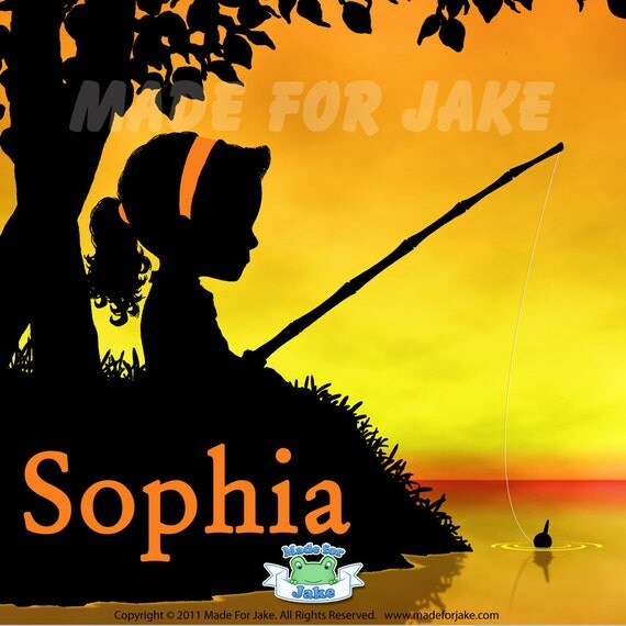 Fishing Girl Sunset Silhouette Personalized