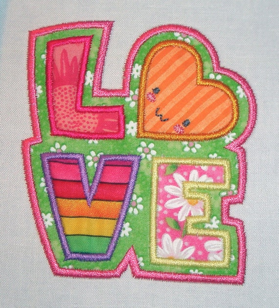 Love Valentine in 3 sizes Machine Embroidery APPLIQUE Design by Cutestuff Designs with Sew Simulator