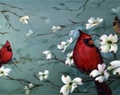 "Cardinals and Dogwoods, ""Jewels"", canvas print"