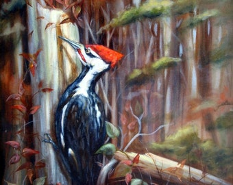 Woodland Song - Pileated Woodpecker, Giclee print on canvas 11 x 14 inches