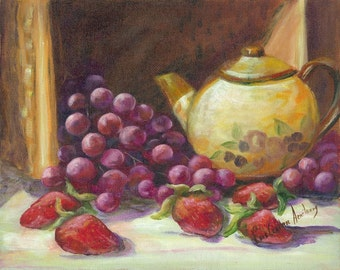 Original Oil on panel with yellow teapot and fruit, strawberries and grapes