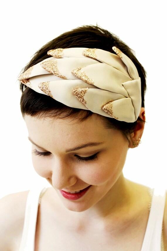 SAMPLE SALE - Bridal Cream and Copper Glitter Dipped Petal Fascinator